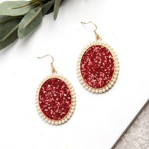 Red Glitter and Glam Oval Earrings